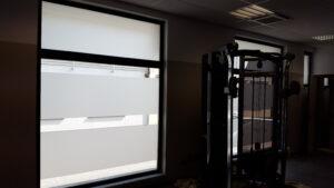 decorazione con pvc sabbiato copertura vetri palestra